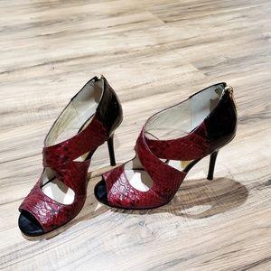 EUC |  Michael Kors Red Snakeskin Stilettos | Sz 6